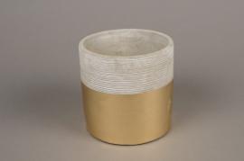 A032U0 Cache-pot en terre cuite gris or D11.5cm H13m