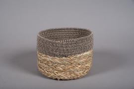A032U7 Wicker and fabric baskets bowl D22cm H16cm
