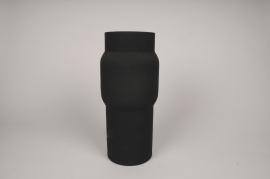 A032U9 Vase cylindre en métal noir D13cm H35cm