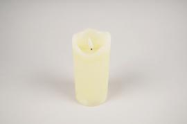 A033A1 Ivory wax candle LED D7.5cm H17.5cm