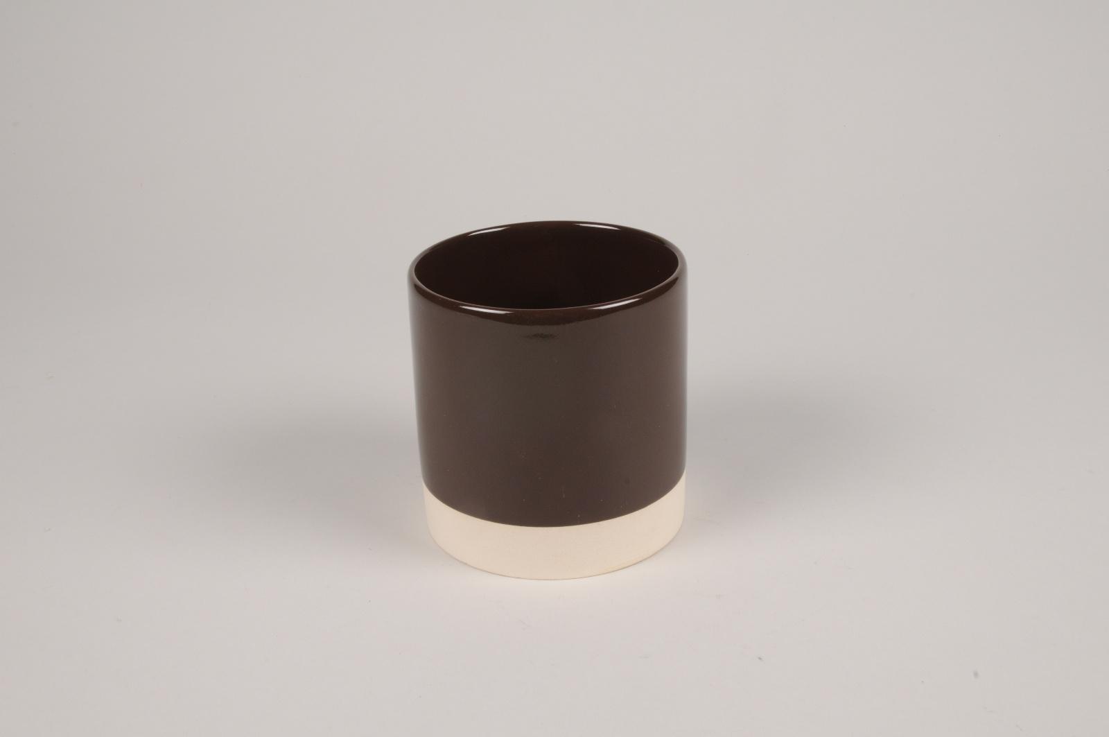 A033AA Cache-pot en céramique chocolat D11cm H11.5cm