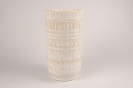 A033BJ Vase en céramique blanc D18cm H34.5cm