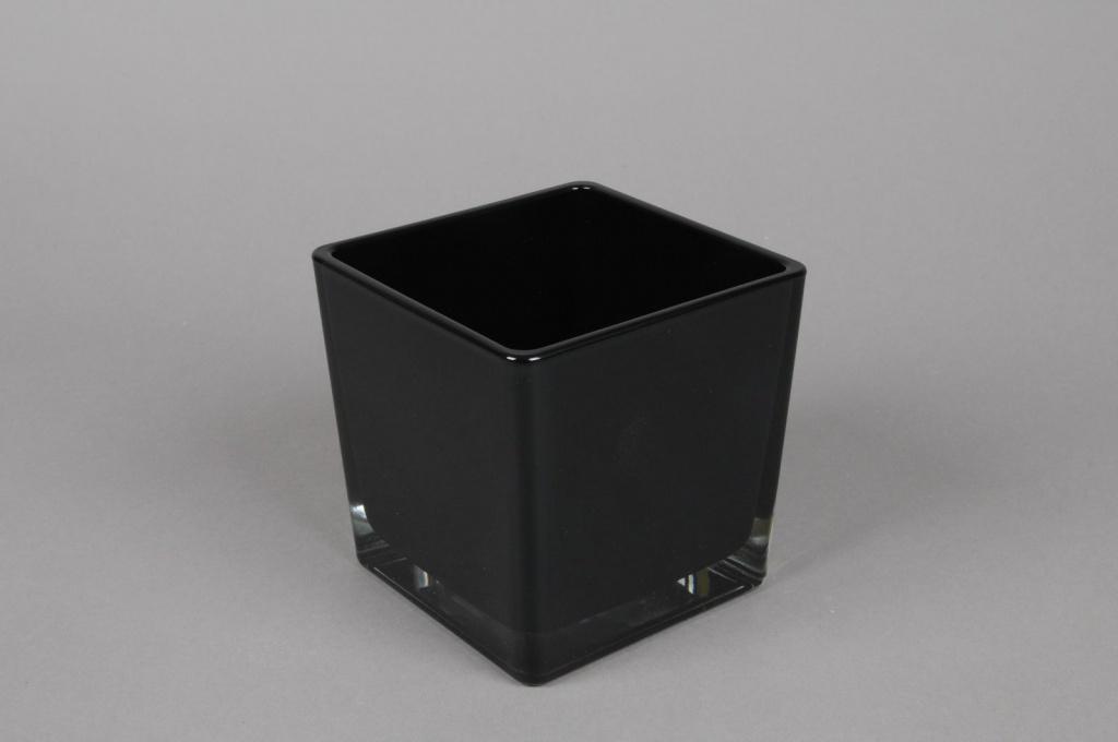 A033I0 Vase en verre noir 10x10cm H10cm