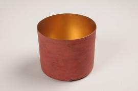 A033JY Red metal planter D12.5cm H11.5cm