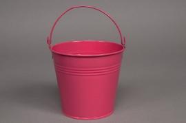A033KM Bucket zinc fuchsia pink D13 H12cm