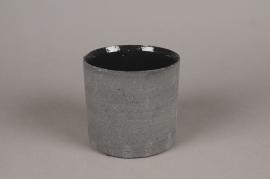 A033N8 Cache-pot en terre cuite noir D17cm H14cm