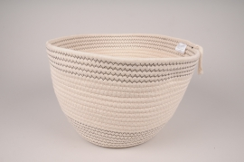 A033QL White cotton basket D32cm H21cm