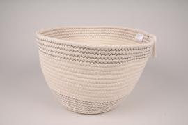 A033QL White cotton basket D32cm H21cm
