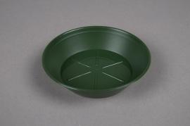 Green plastic saucer D12cm