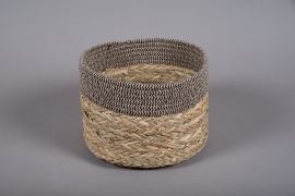 A033U7 Wicker and fabric baskets bowl D25cm H18cm