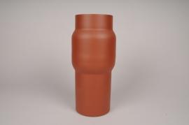 A033U9 Vase cylindre en métal marron D13cm H34.5cm