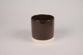 A034AA Cache-pot en céramique chocolat D13cm H13cm