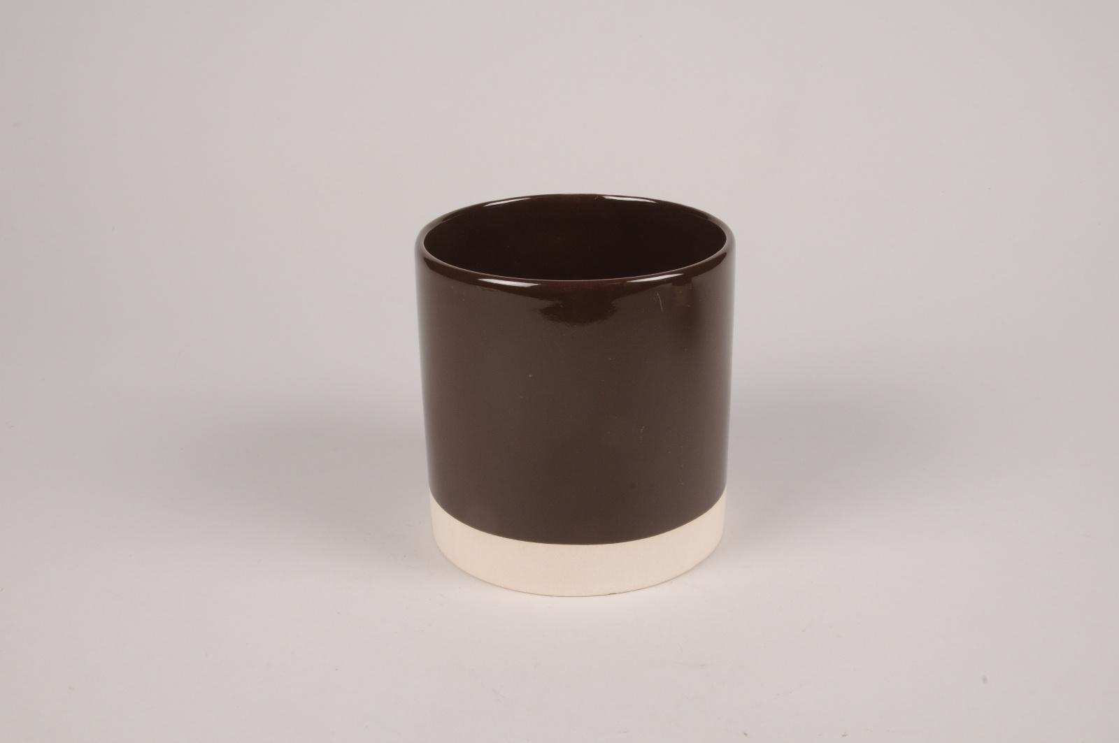 A034AA chocolate ceramic planter D13cm H13cm