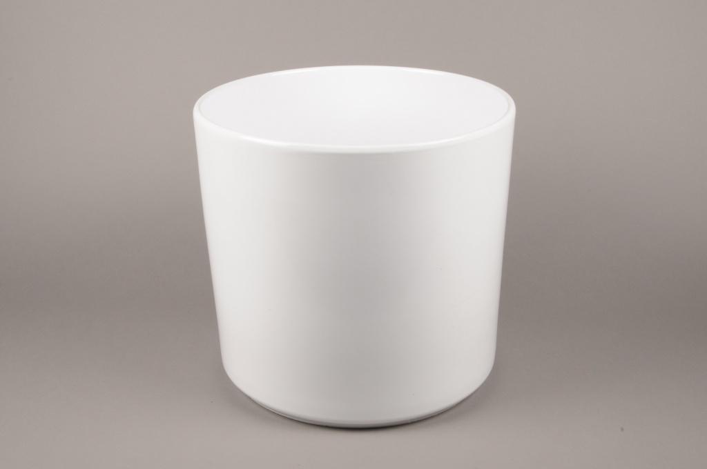 A034DO Cache-pot en céramique blanc D37cm H35cm