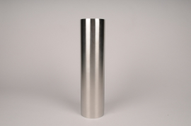 A034E0 Bougeoir cylindre métal argent D8.5cm H35cm