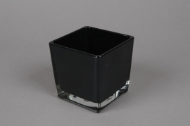 A034I0 Glass cube vase black 12x12cm H12cm