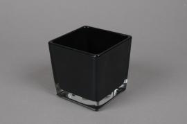 A034I0 Vase en verre noir 12x12cm H12cm