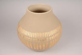 A034I4 Vase en céramique taupe D36cm H40cm