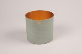 A034JY Cache-pot en métal vert D12.5cm H11cm
