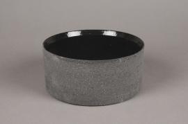 A034N8 Coupe en terre cuite noir D16cm H8cm