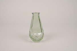 A034NH Vase en verre obus vert D7cm H14cm