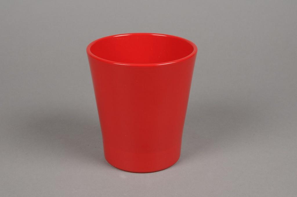 A034PP Cache-pot en céramique rouge D13cm H14cm
