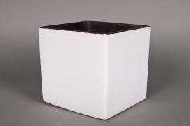A034QS Cache-pot en céramique cube blanc 22x22 H22cm