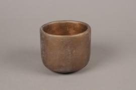 A034TN Cache-pot en terre cuite taupe D12cm H11cm