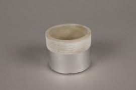 A034U0 Cache-pot en terre cuite gris argent D7.5cm H6m