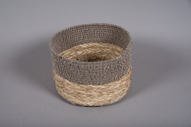 A034U7 Wicker and fabric baskets bowl D28cm H19cm