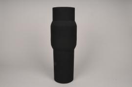 A034U9 Vase cylindre en métal noir D13cm H45cm