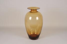 A034W3 Vase en verre ambre D32m H57cm