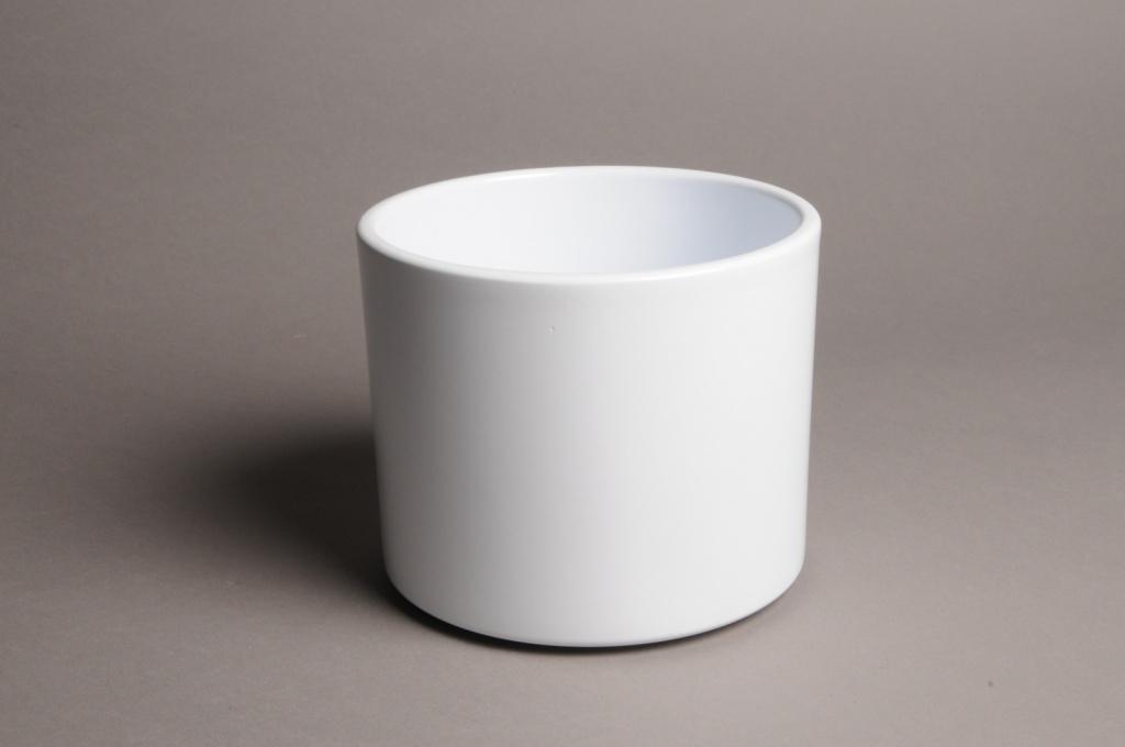 A035A8 Cache-pot en céramique blanc D17.5cm H14cm