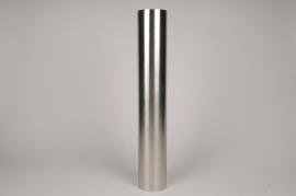 A035E0 Bougeoir cylindre métal argent D9cm H55cm