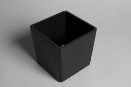 A035I0 Vase en verre cube noir 14x14cm H14cm