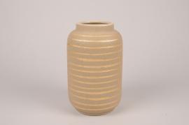 A035I4 Vase en céramique taupe D14cm H23cm