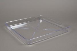Saucer clear plastic 32x32cm