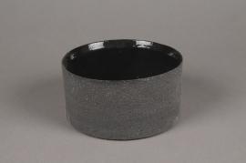 A035N8 Black terracotta planter D20cm H9cm