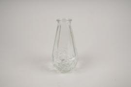 A035NH Vase en verre obus transparent D7cm H14cm