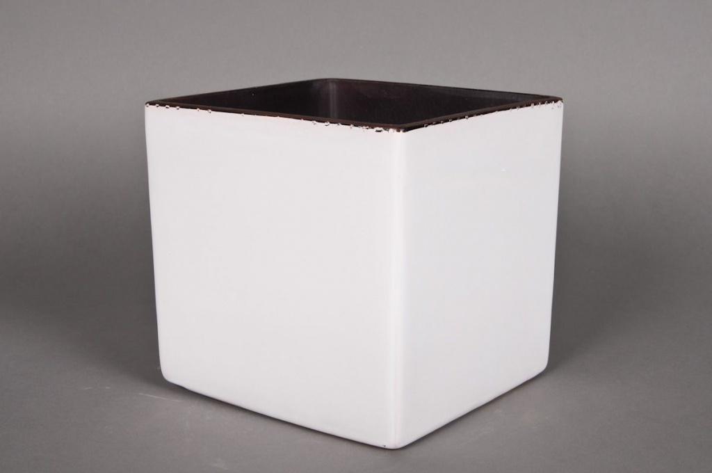 A035QS Cache-pot en céramique cube blanc 26x26 H26cm
