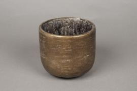 A035TN Cache-pot en terre cuite taupe D11cm H9,5cm