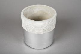 A035U0 Cache-pot en terre cuite gris argent D10.5cm H10.5m