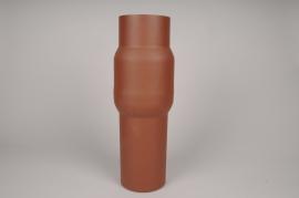 A035U9 Vase cylindre en métal marron D13cm H45cm