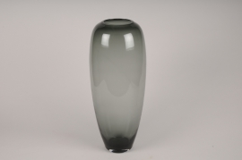 A035W3 Vase en verre obus gris D21cm H50cm
