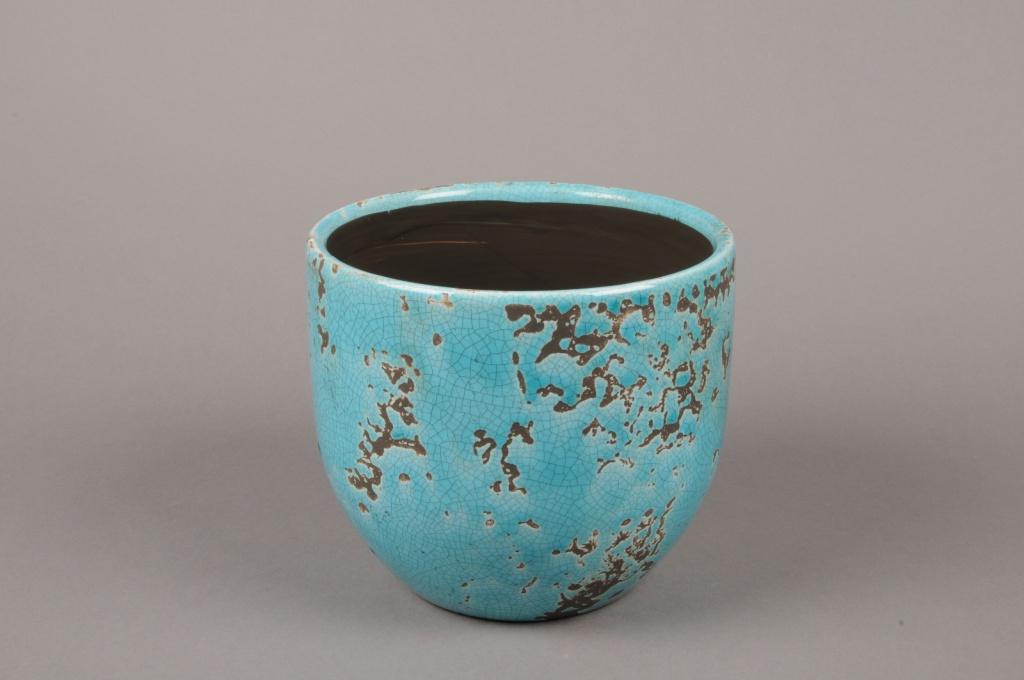 A036BS Cache-pot en céramique turquoise D16cm H14cm