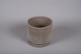 A036DO Pot en céramique sable avec soucoupe D25cm H22cm