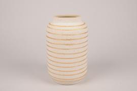 A036I4 Vase en céramique crème D14cm H23cm