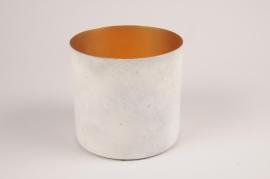 A036JY Cache-pot en métal blanc gris D15cm H14.5cm