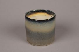 A036NM Cache-pot en céramique émaillée gris D11.5cm H11cm