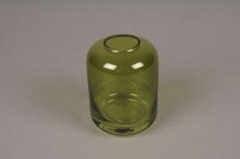 A036P5 Vase en verre vert D8cm H11cm